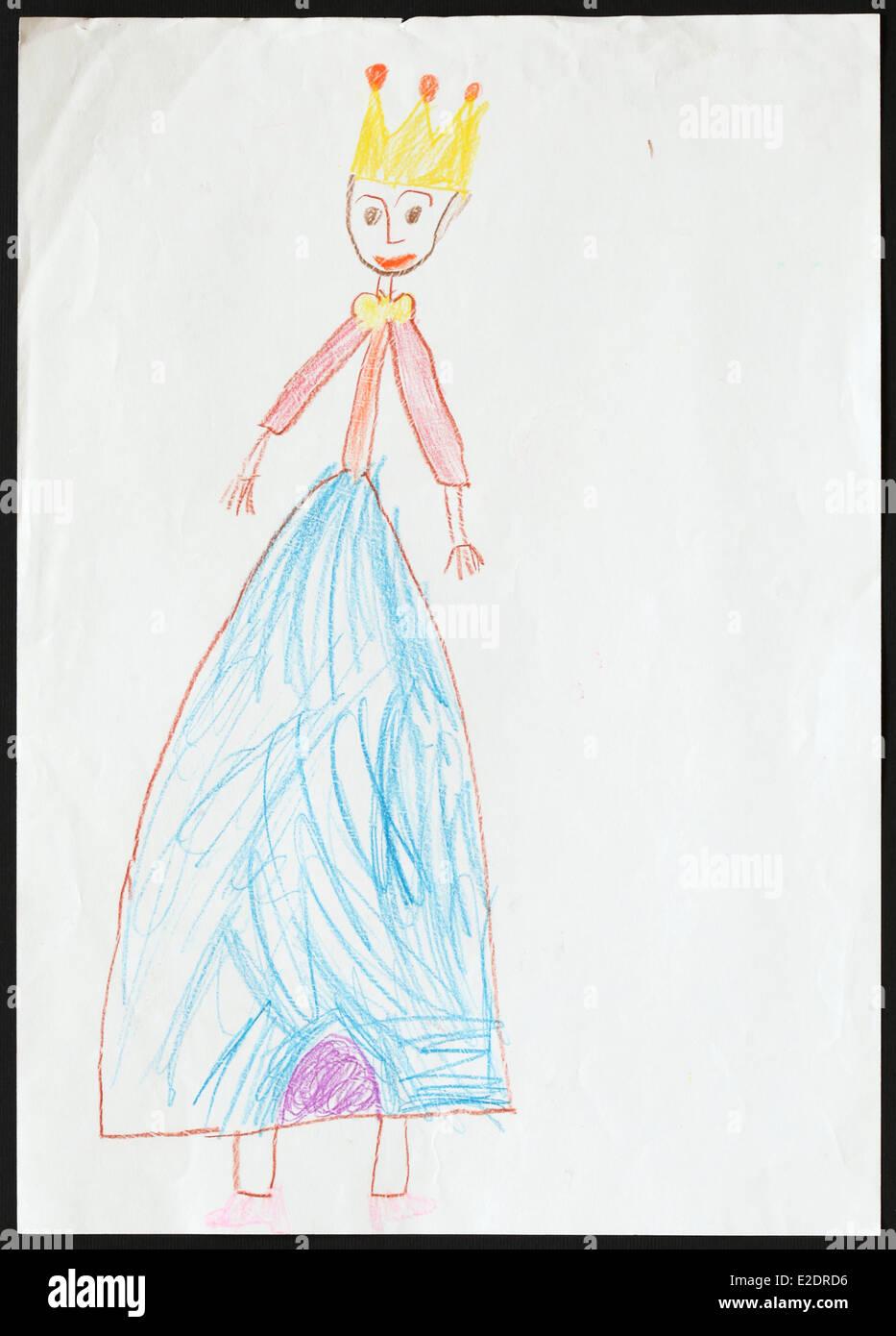 Dessin D Enfant D Origine D Une Princesse Dessiné Par Une