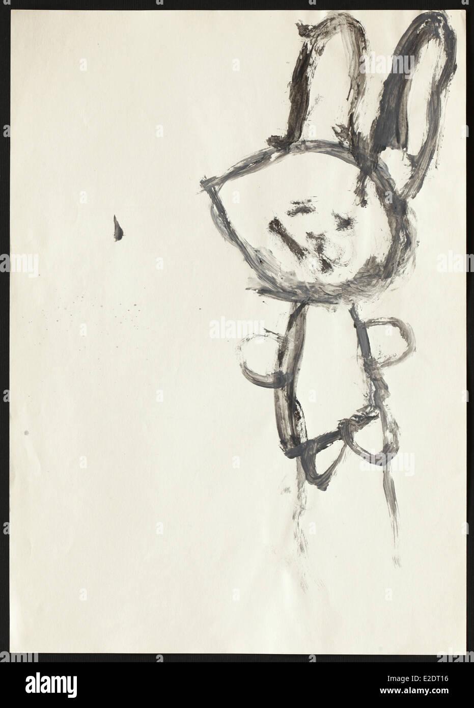 Dessin D Enfant D Origine D Un Lapin Noir Dessiné Par Une