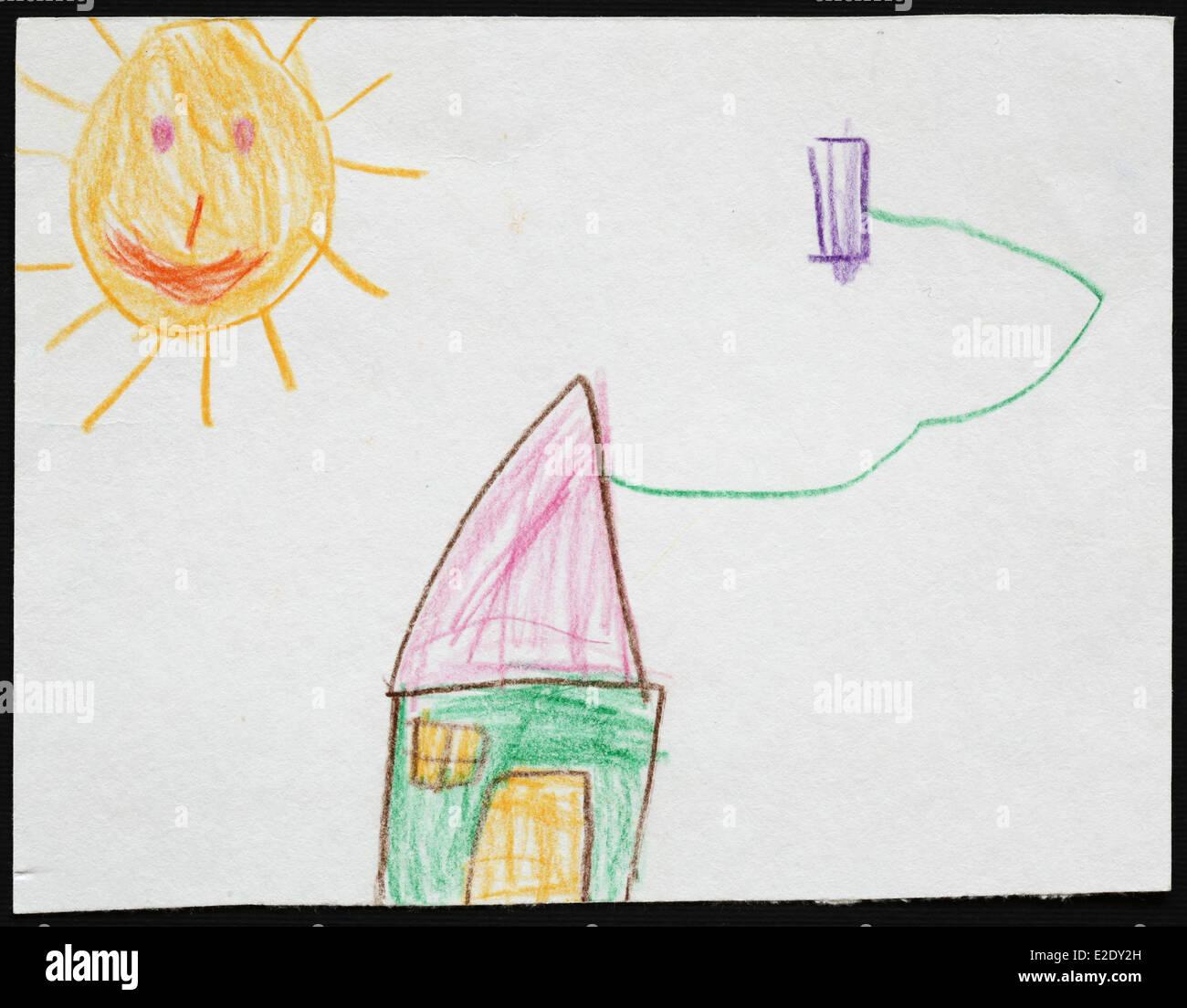 Dessin Denfant Dorigine Dune Maison Verte Sous Le Soleil
