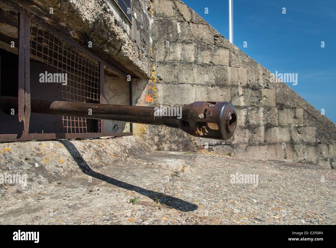 France Calvados Saint Laurent sur Mer Mur de l'Atlantique Ruquet bunker bunker allemand point fort équipé d'un canon antichar Banque D'Images