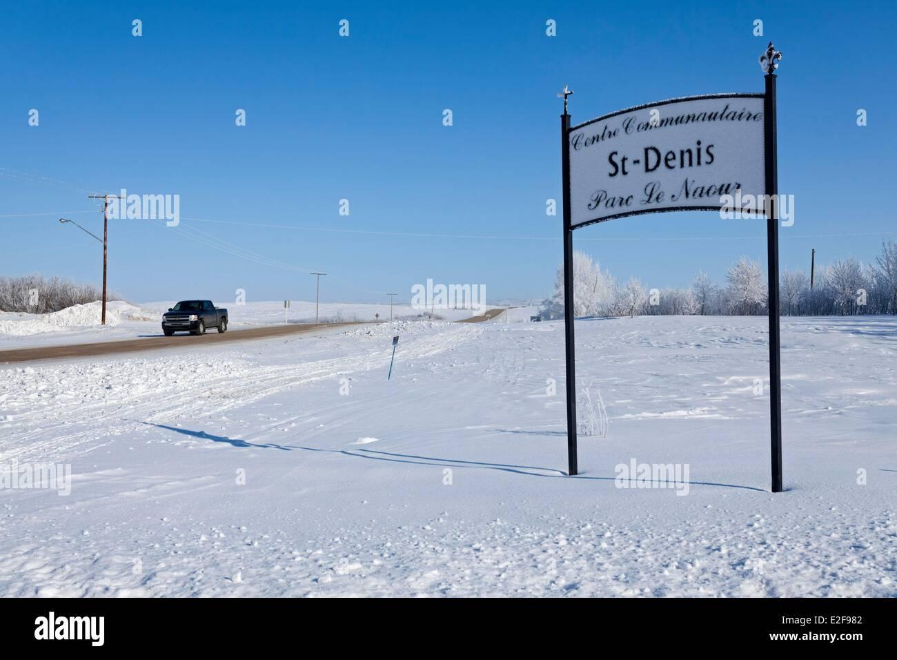 Le Canada, de la Saskatchewan, région rurale en hiver, le village de Saint-Denis Photo Stock