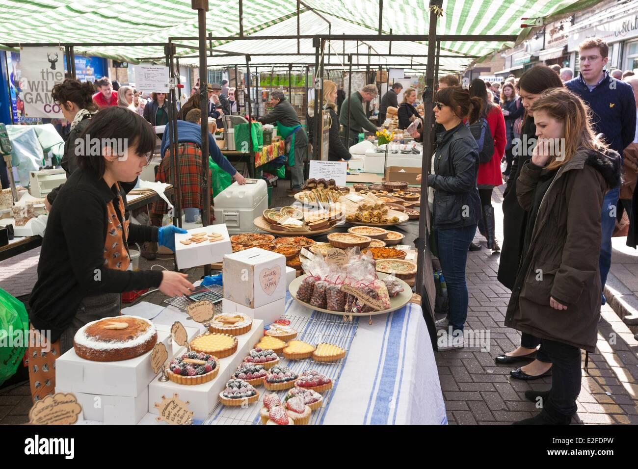 Royaume-uni Londres East End Broadway Market Hackney district propose des produits biologiques, mais aussi la restauration Photo Stock