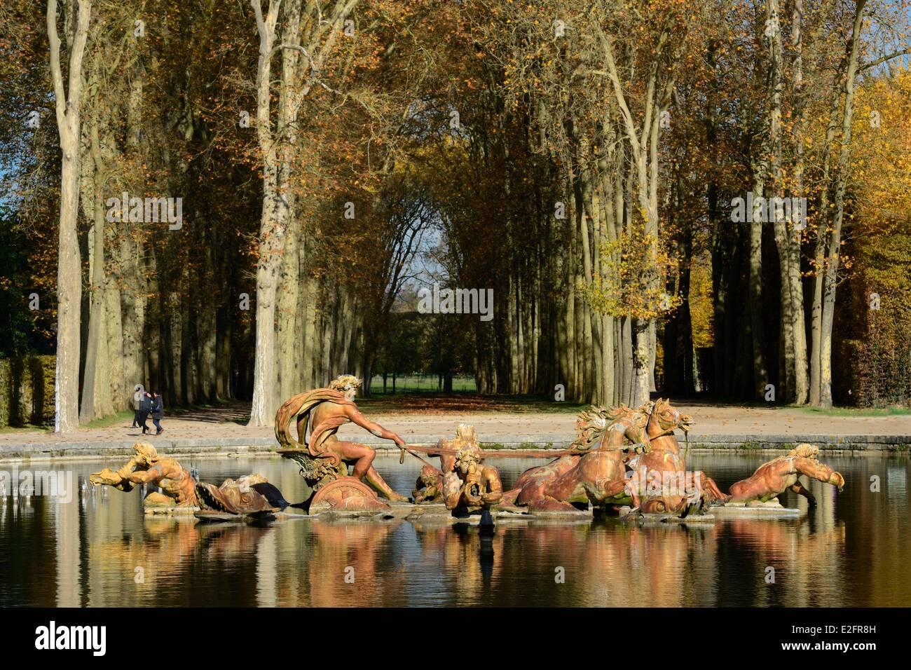 France Yvelines parc du château de Versailles classée au Patrimoine Mondial de l'UNESCO du bassin Photo Stock