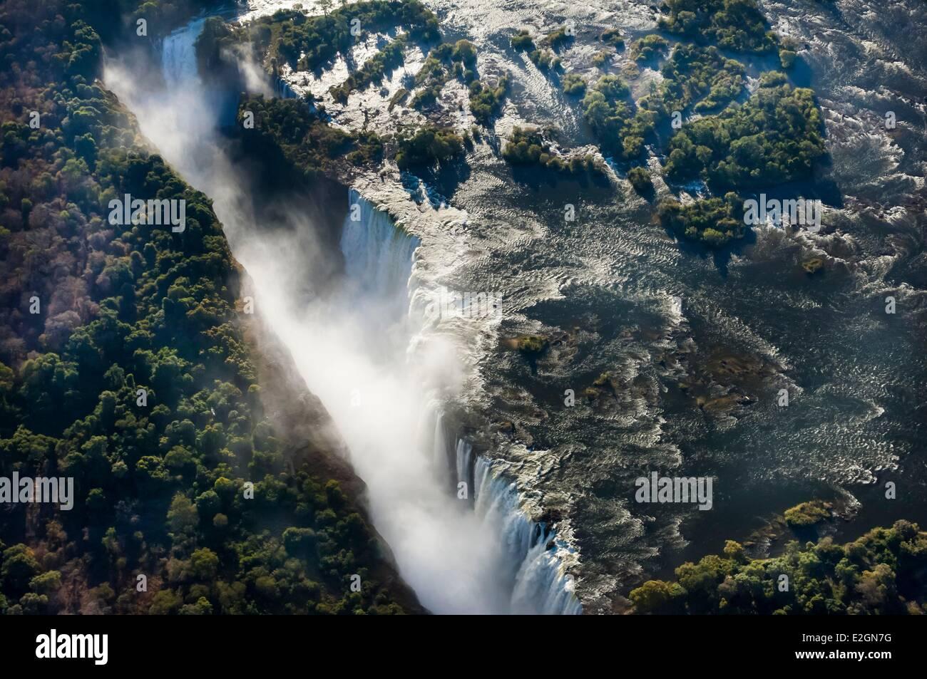 Zimbabwe Département Mosi oa Victoria Falls ou Tunya inscrite au patrimoine mondial de l'UNESCO vol en Photo Stock