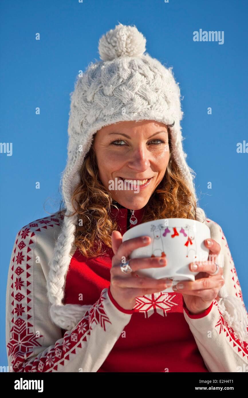 France Isère Chamrousse femme sports d'hiver Photo Stock