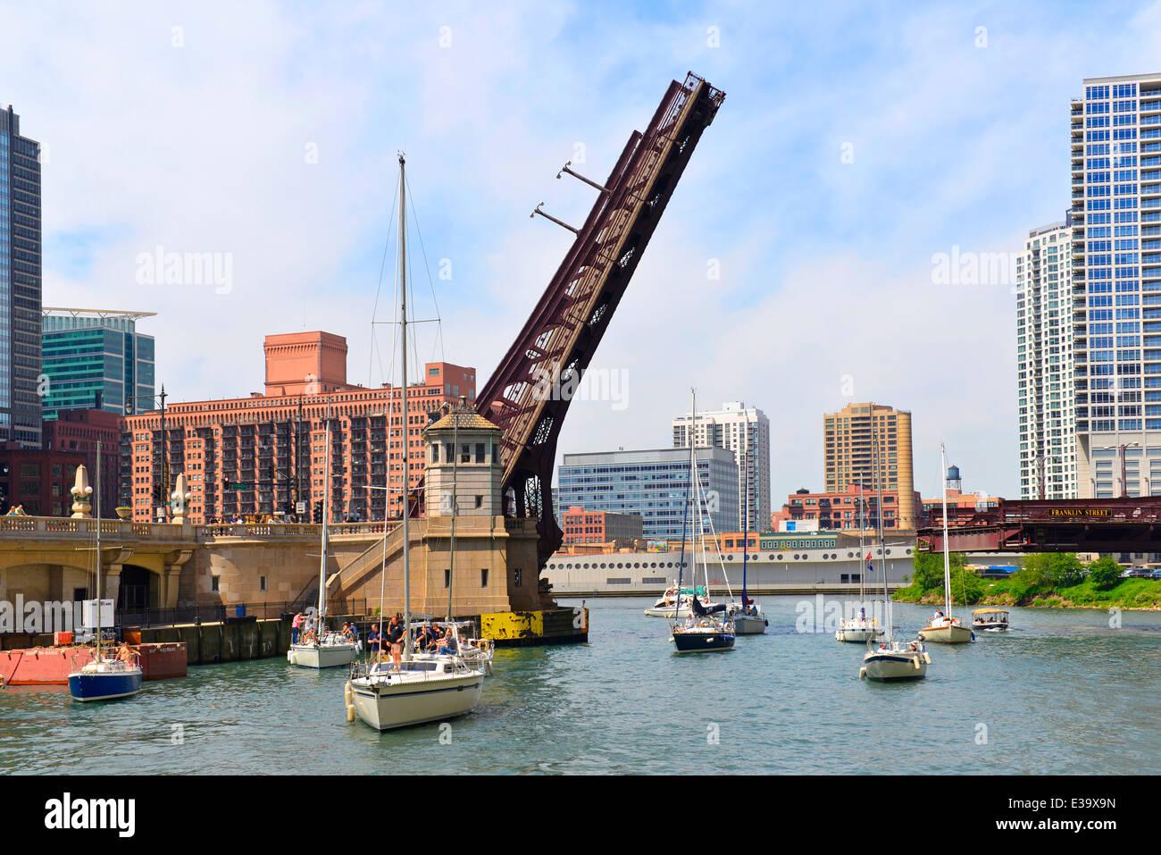 Pont de la rivière Chicago, Chicago, Illinois, du pont de la rue Franklin Photo Stock