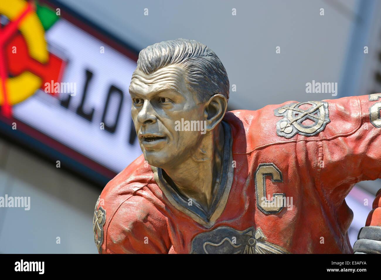 La légende du hockey, Stan Mikita (Stanislav) des Blackhawks de Chicago, à l'extérieur de la Photo Stock