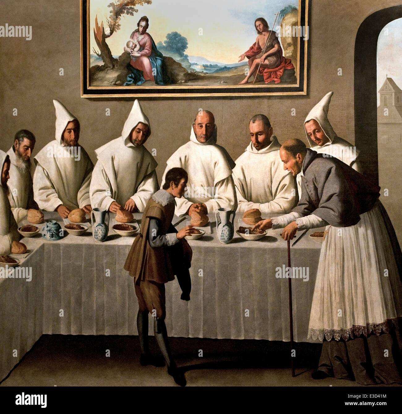 Dans le réfectoire Saint Hugh 1655 Francisco de Zurbarán 1598 - 1664 Espagnol Espagne Banque D'Images