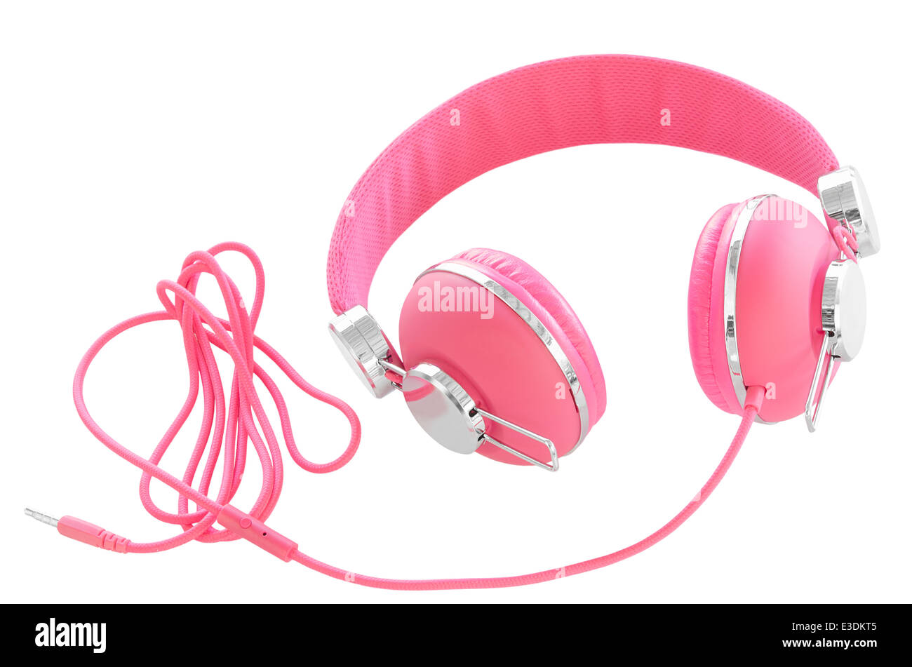 Femme de couleur rose pastel headphones isolated on white Photo Stock
