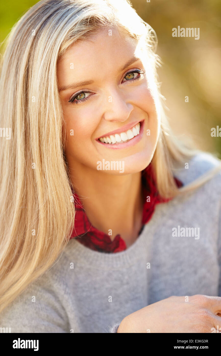 Portrait Of Attractive Woman in Countryside Photo Stock