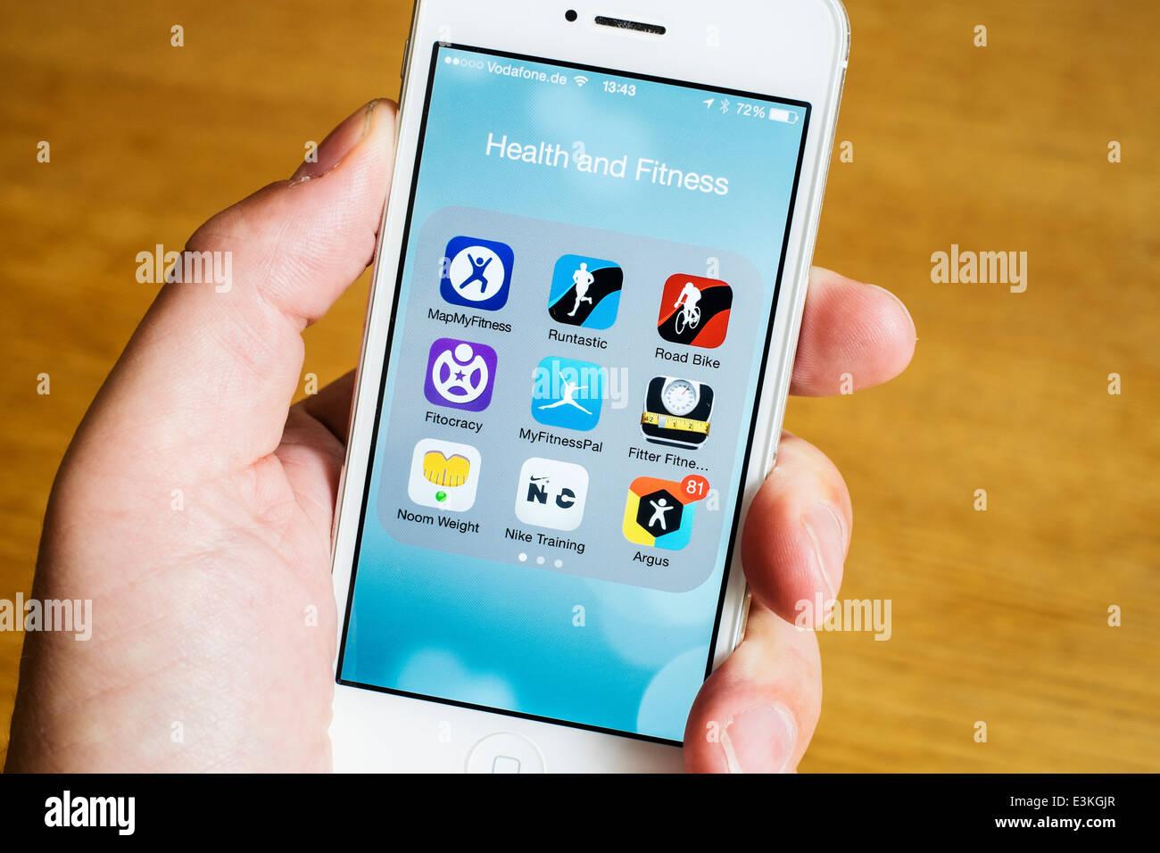 Détail de nombreux professionnels de la santé , le sport et la condition physique des applications sur Photo Stock