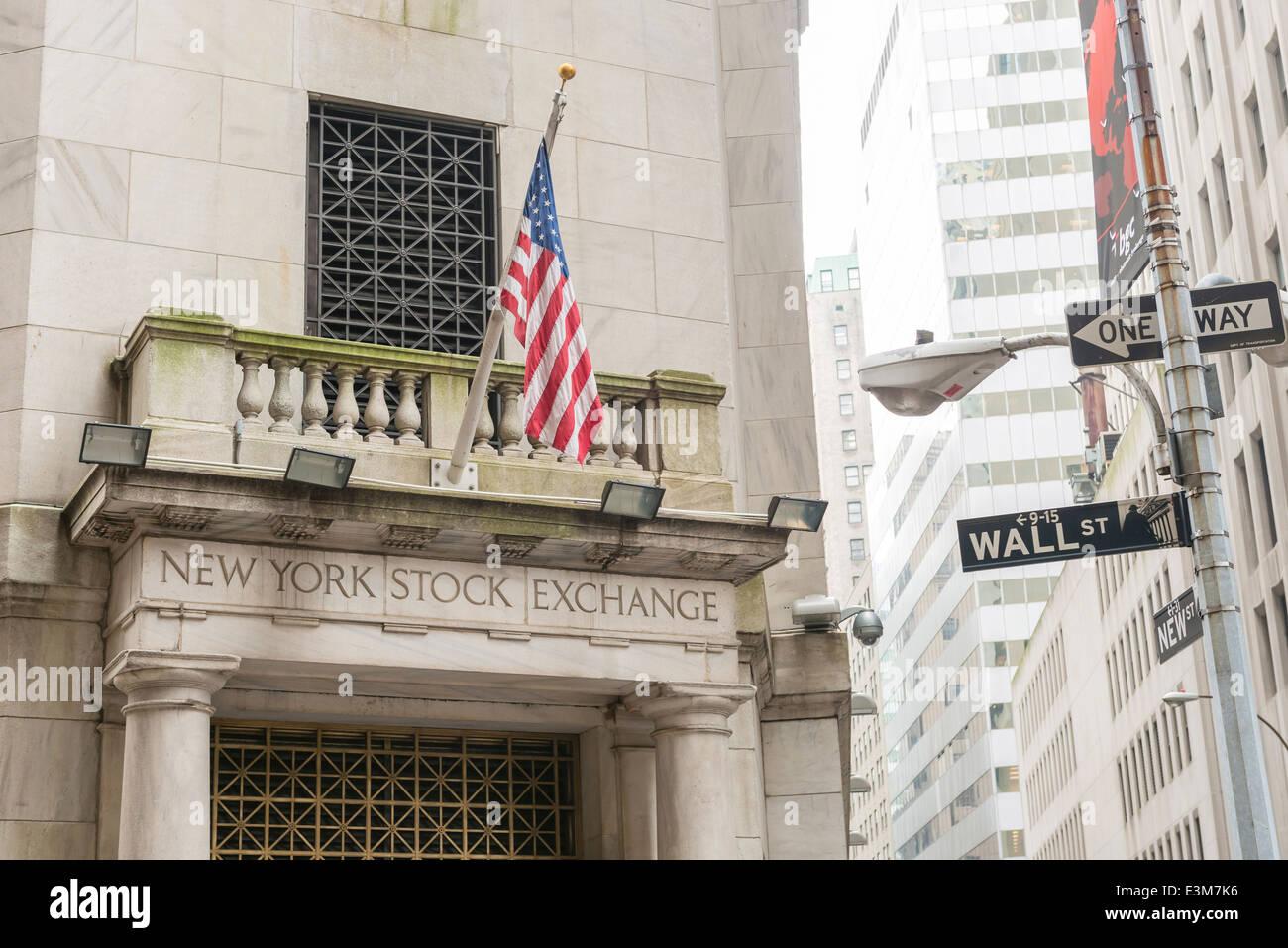 Wall Street signe à la Bourse de New York, New York USA Photo Stock