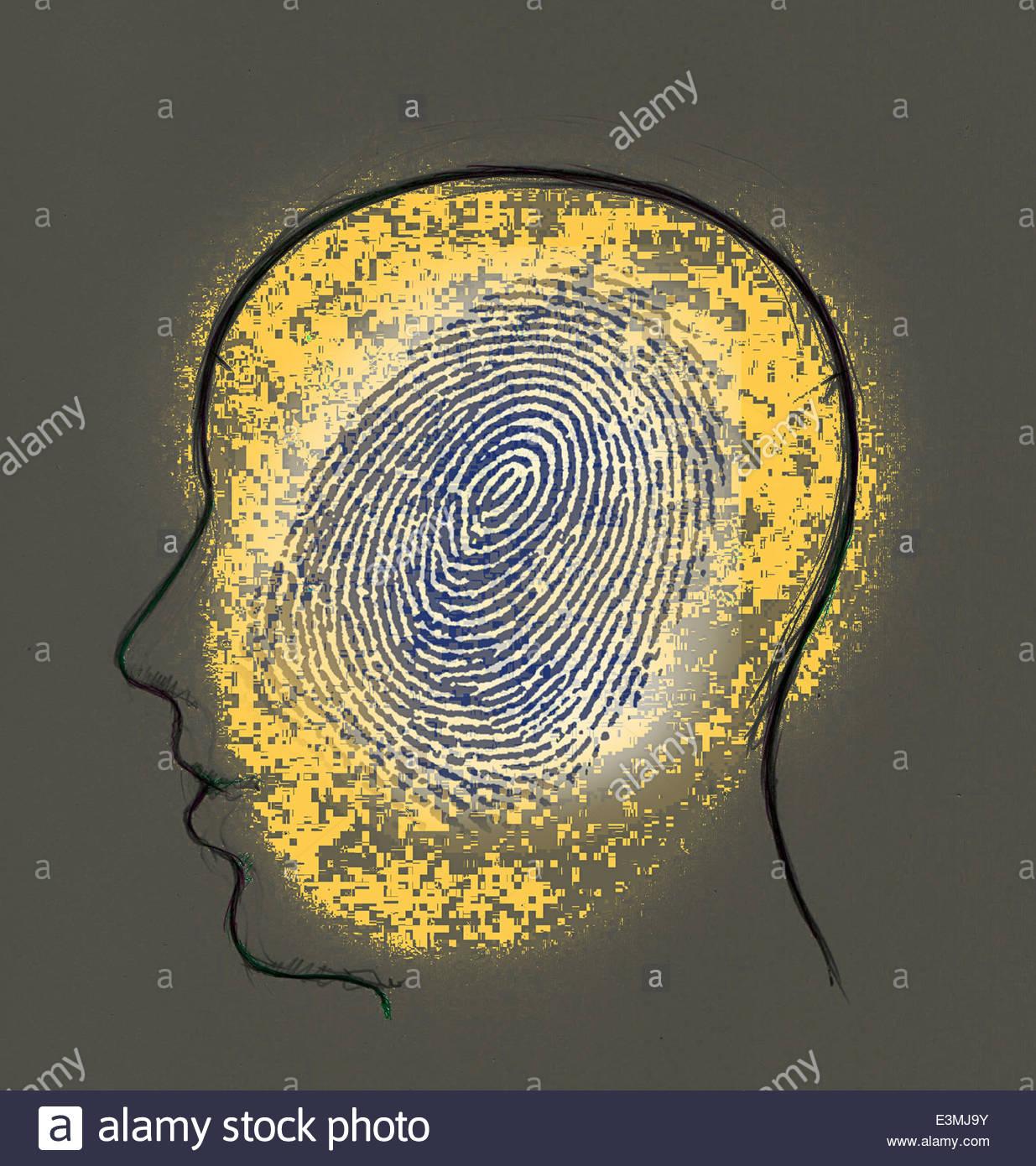 Tête de l'homme à l'intérieur d'empreintes digitales Photo Stock