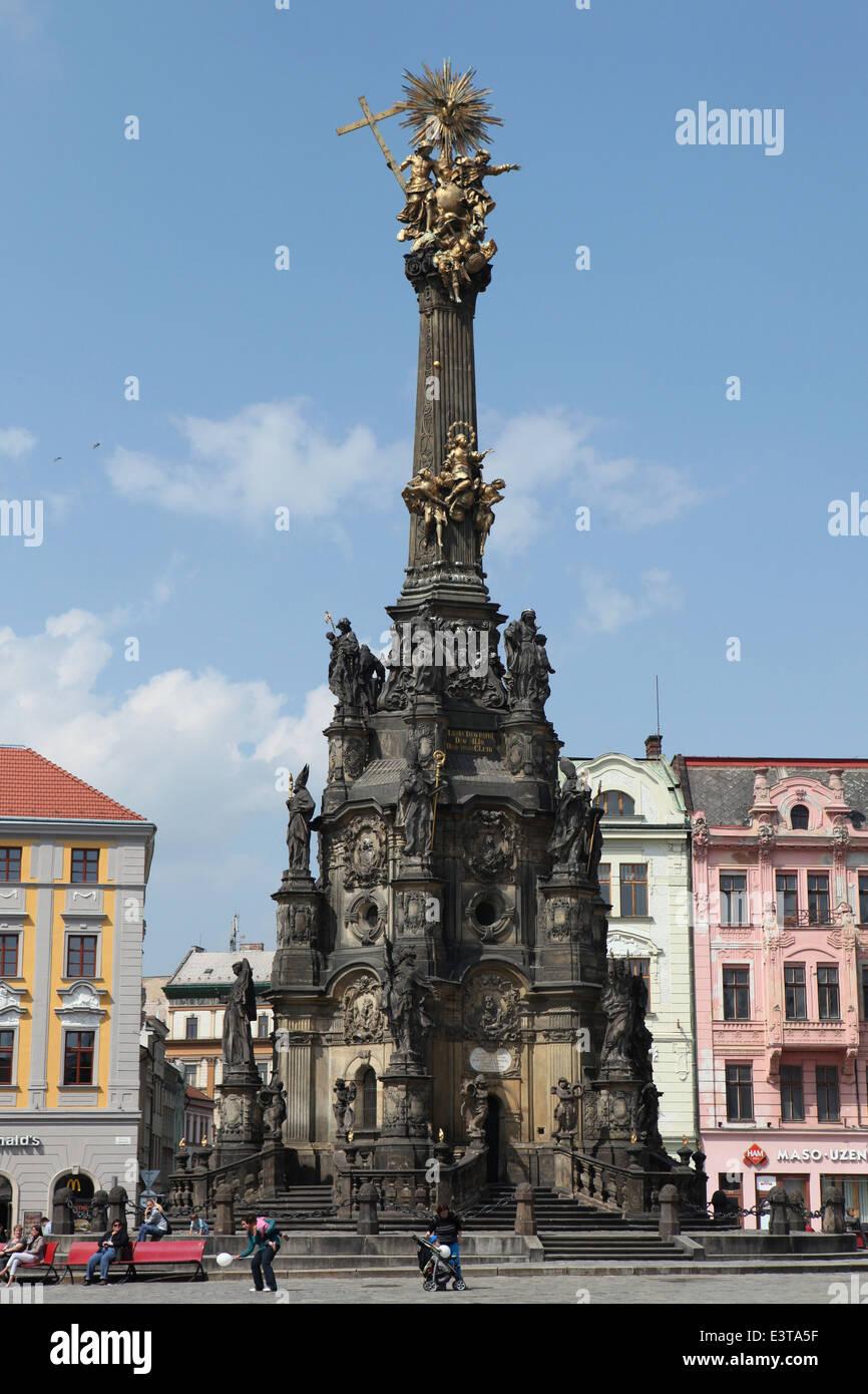 La colonne de la Sainte Trinité à Olomouc, République tchèque. Photo Stock