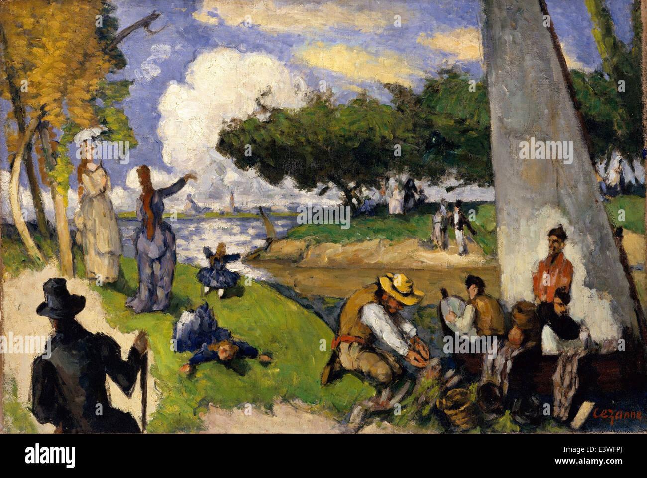 Paul Cézanne - Les pêcheurs (spectacle) - 1875 - A RENCONTRÉ Museum - New-York Photo Stock