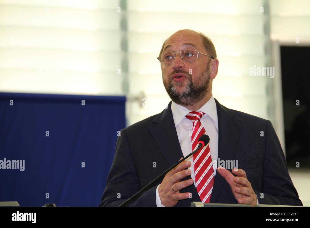Strasbourg, France. 1er juillet 2014. Martin Schulz traite le Parlement européen (PE) a l'issue des votes, Photo Stock