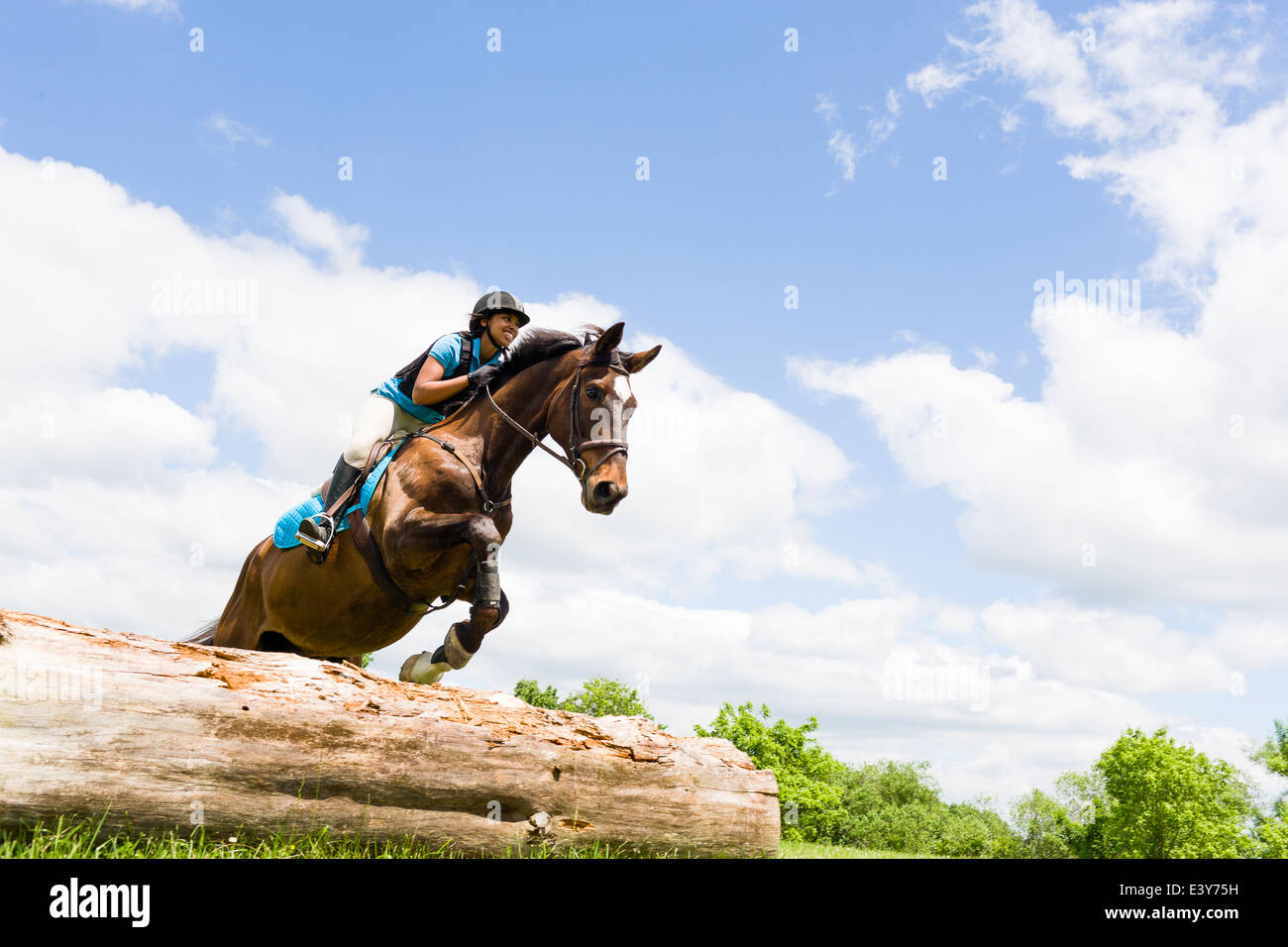 Horse Rider jumping on horse Photo Stock