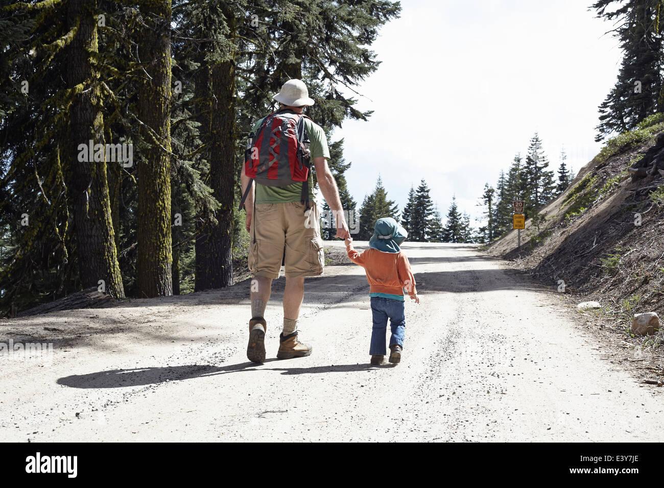 Vue arrière du père et fille, main dans la main marcher à travers la forêt de l'Oregon, Photo Stock