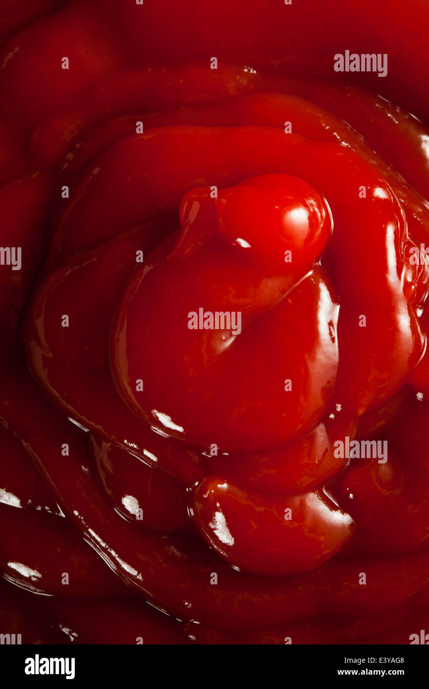 Red Ketchup biologique dans un bol Photo Stock