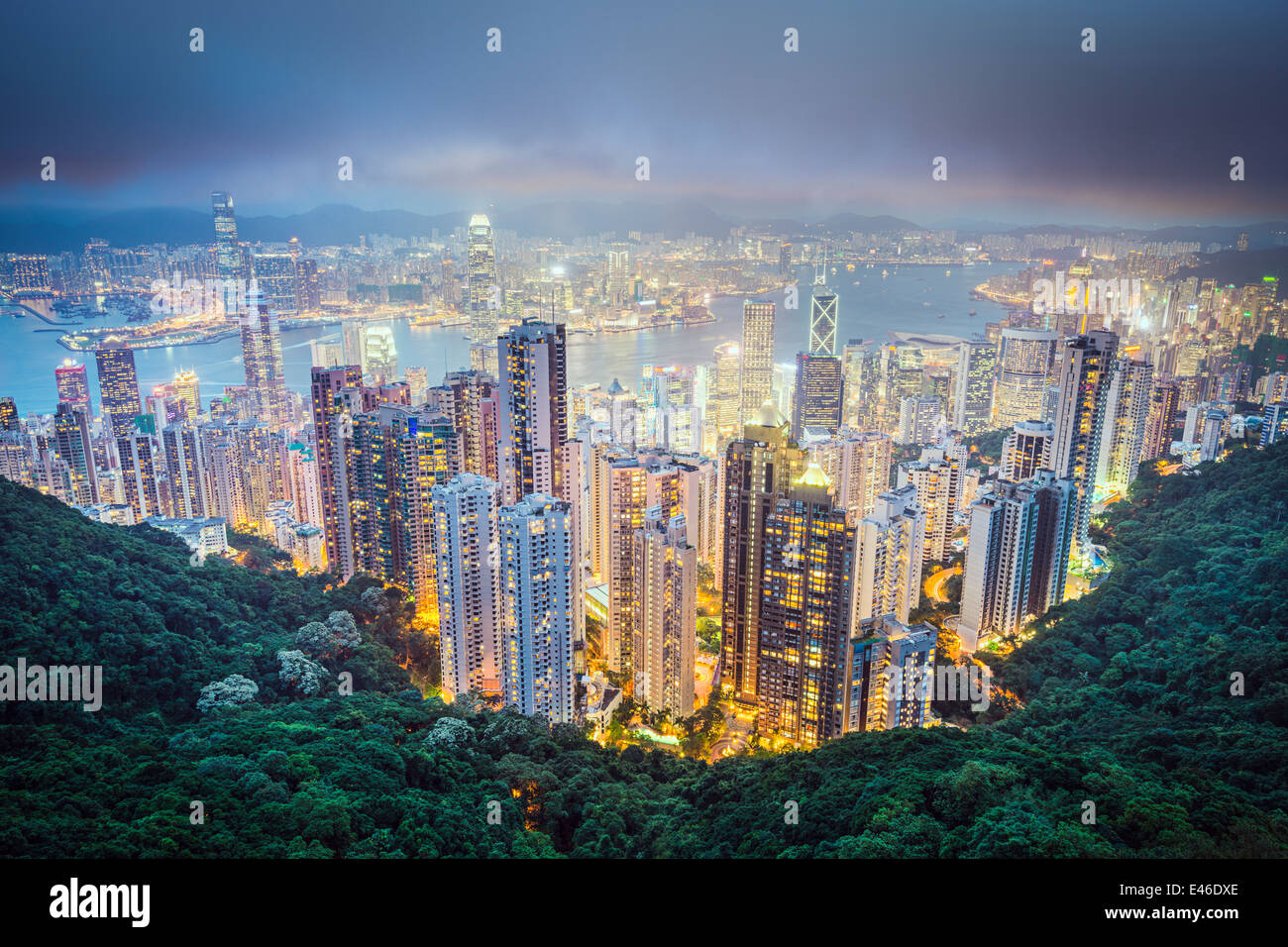 Hong Kong, Chine ville de Victoria Peak. Photo Stock