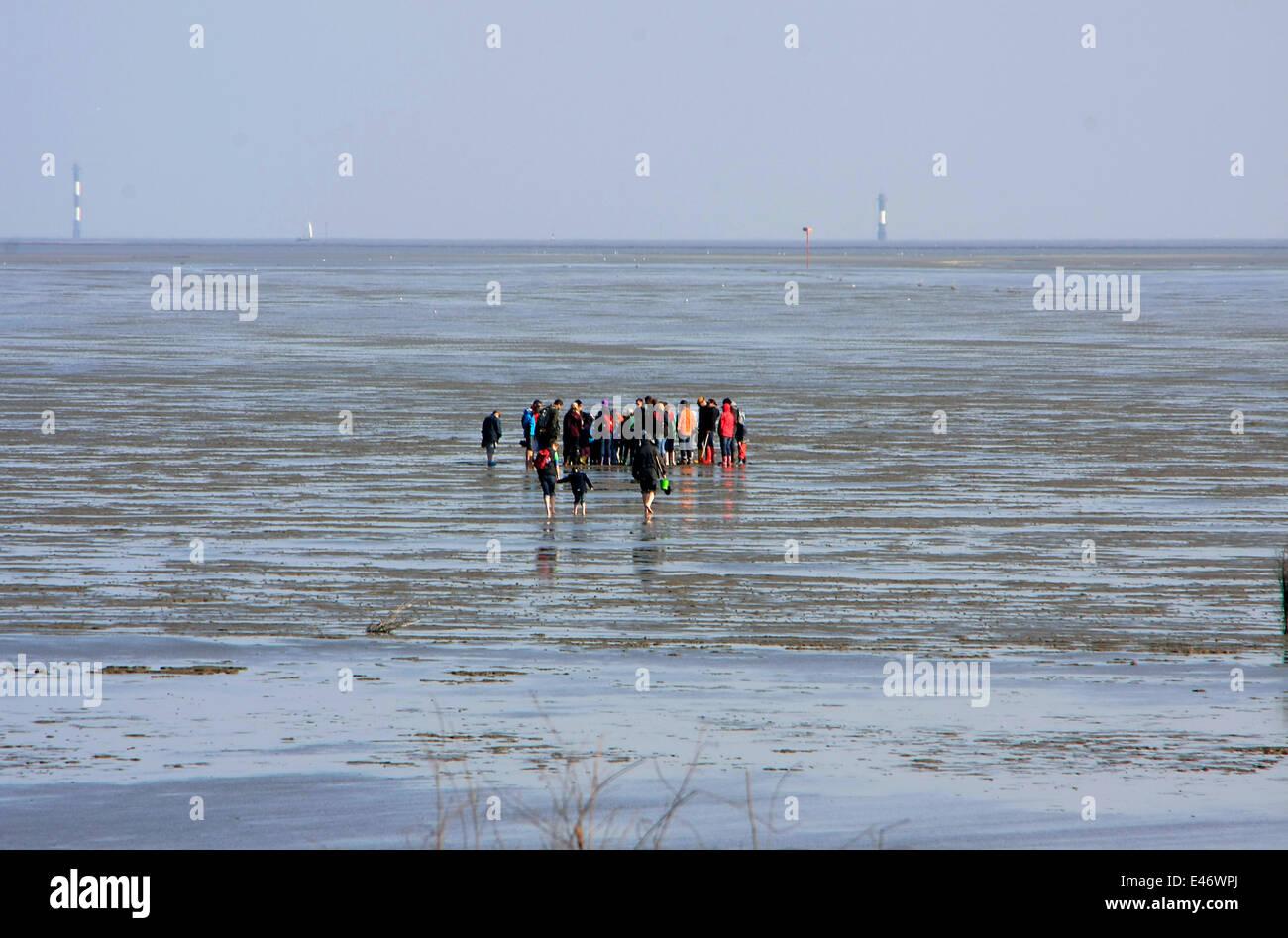 Watt-randonnée avec un guide lors d'Ebb à la plage de Duhnen. Avec ebb, le naufrage sur la mer-miroir est marquée à cause des marées. La fin de la marée descendante est appelée basse-eaux. Photo: Klaus Nowottnick Date: 11 mai, 2013 Banque D'Images