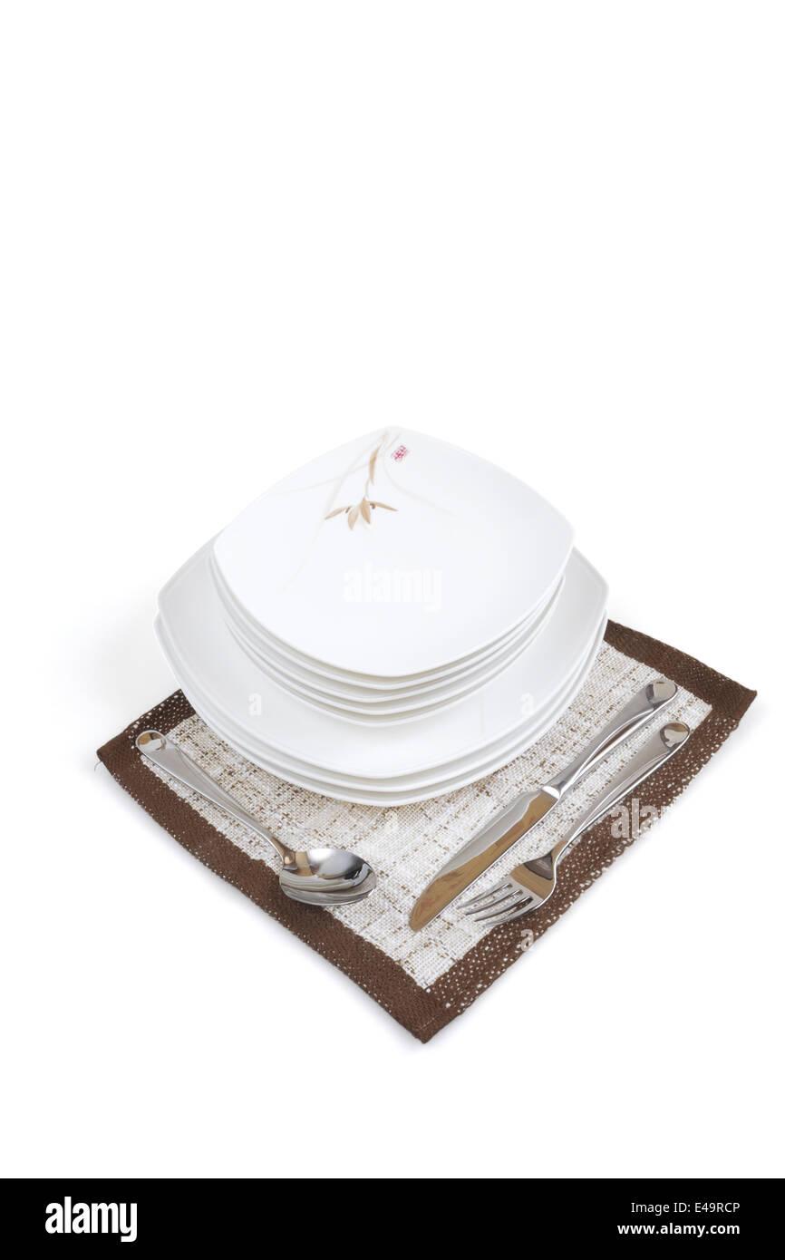 Présentation de tableau avec vaisselle Photo Stock