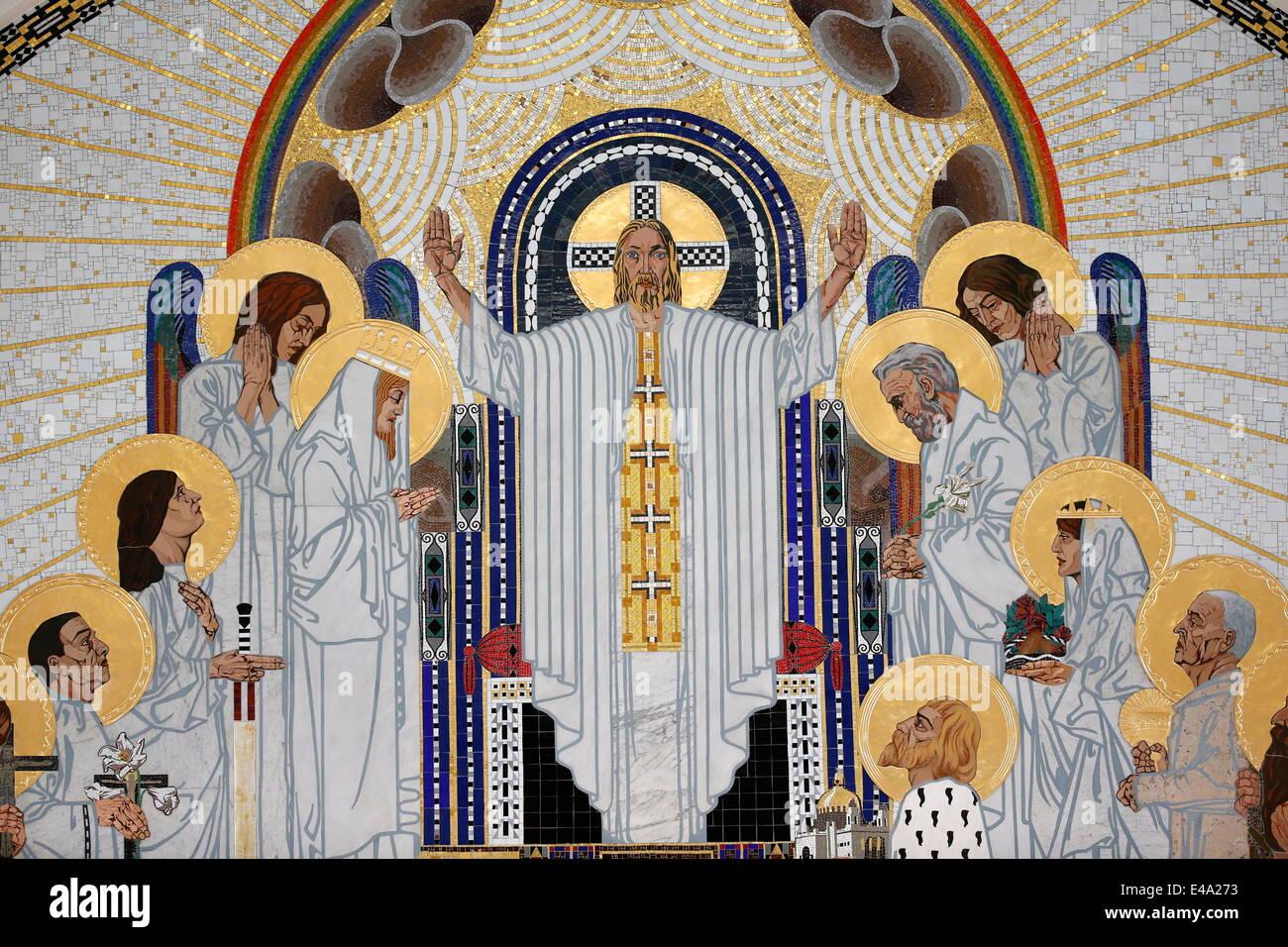 Jésus Christ détail dans l'accueil au paradis, mosaïques par Remigius Geyling, Am Steinhof Church Photo Stock
