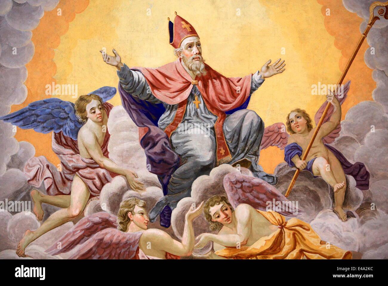 Saint Nicolas monte au ciel, l'évêque de Myra, Vie de Saint Nicolas, Saint Nicolas de Veroce, église Photo Stock