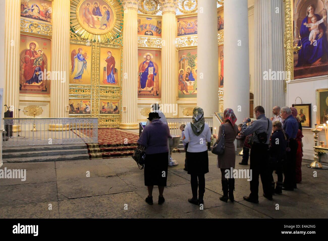 Le baptême orthodoxe, la cathédrale de la Trinité, Saint-Pétersbourg, Russie, Europe Photo Stock