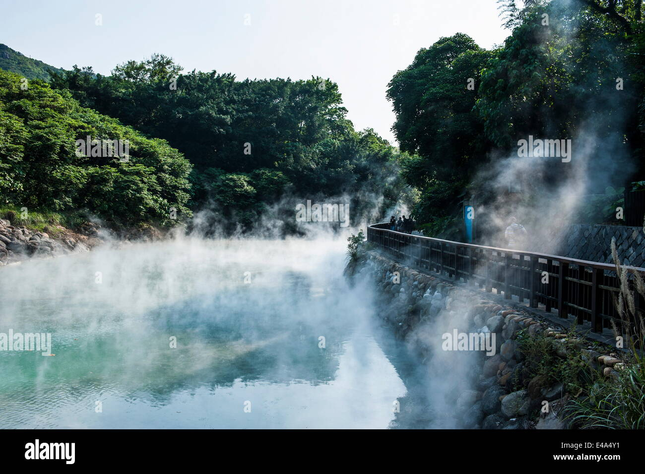 La vapeur d'eau dans le di-re vallée, Beitou Hot Spring Resort, Taipeh, Taiwan, l'Asie Photo Stock