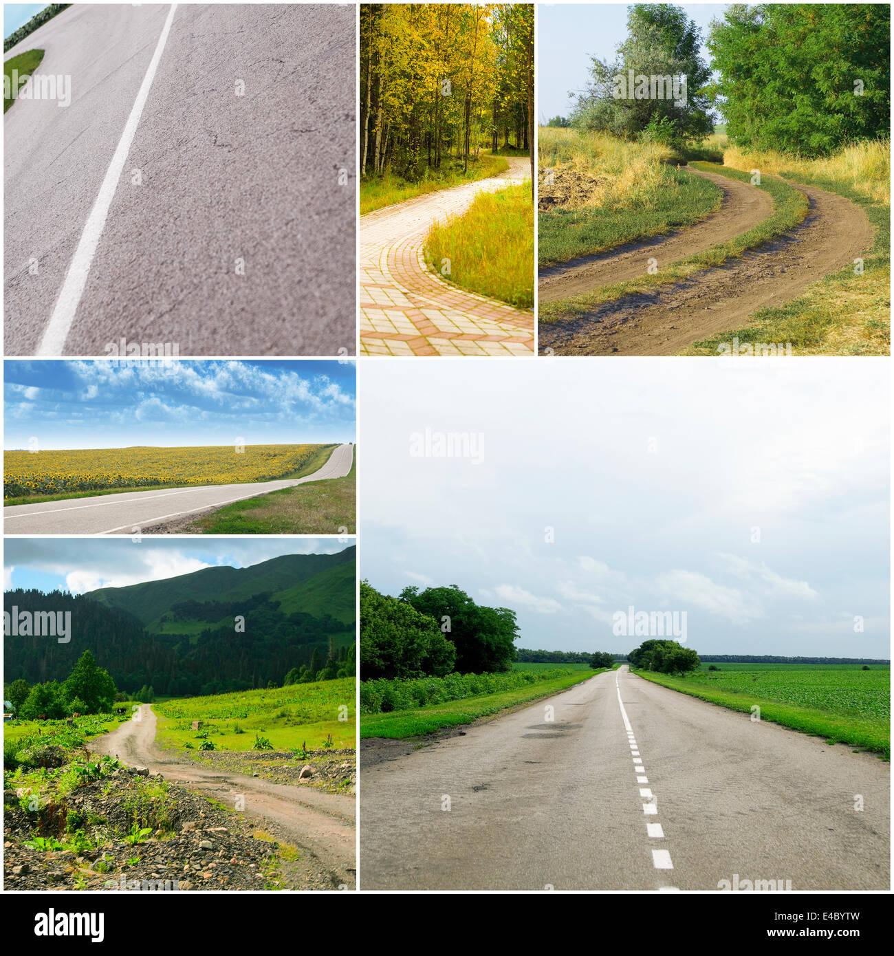 Les routes de campagne à différentes saisons Photo Stock