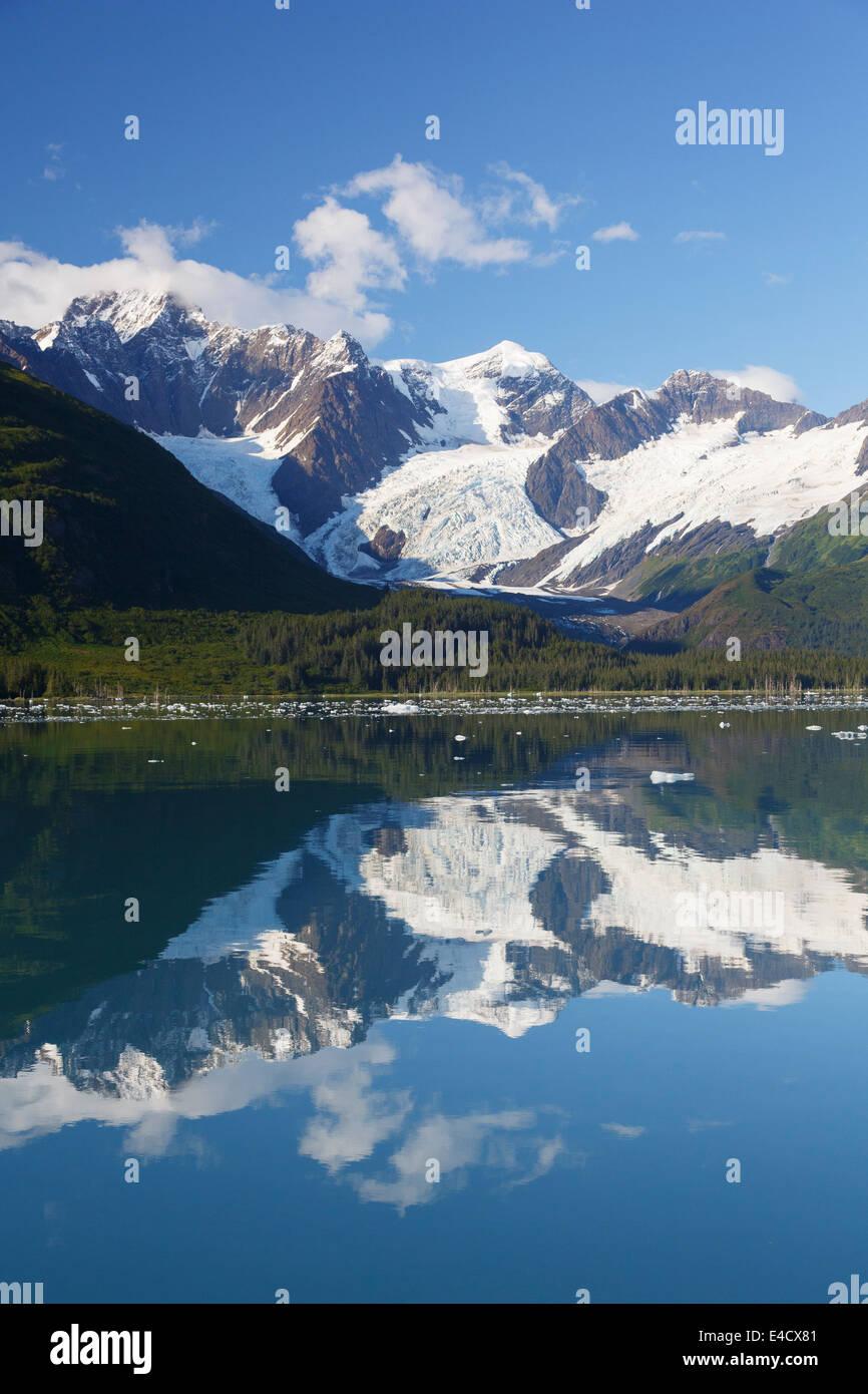 Harriman Fjord, Prince William Sound, Alaska, la Forêt Nationale de Chugach. Photo Stock
