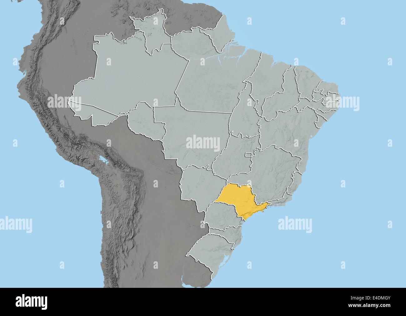 Carte Bresil Relief.L Etat De Sao Paulo Bresil Carte En Relief Banque D Images Photo