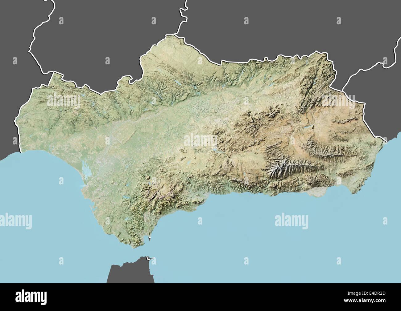 Carte Andalousie Relief.Andalousie Espagne Carte En Relief Banque D Images Photo