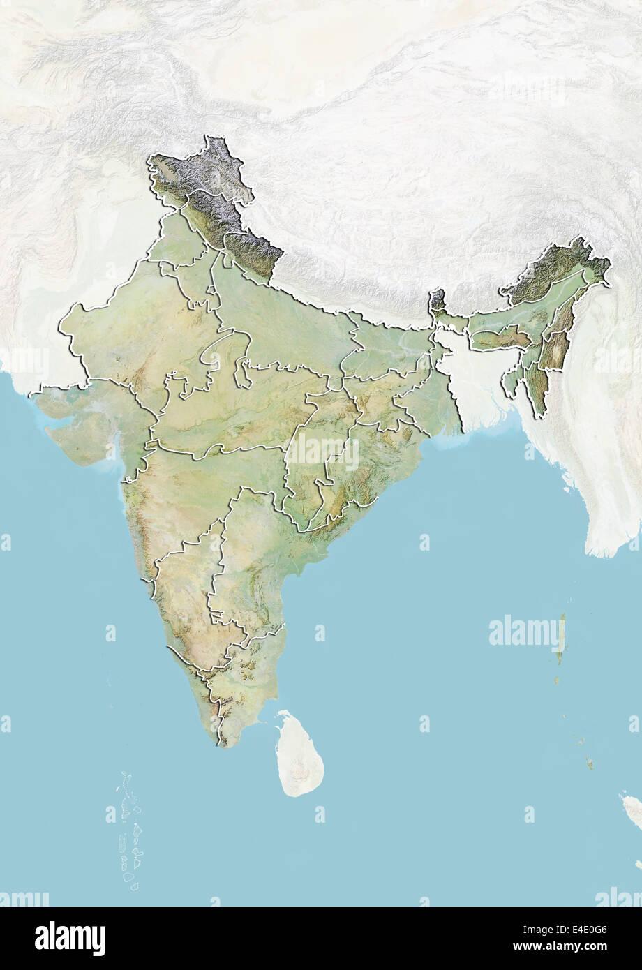 Carte De Linde Relief.L Inde Carte En Relief Avec Les Frontieres Des Etats Banque
