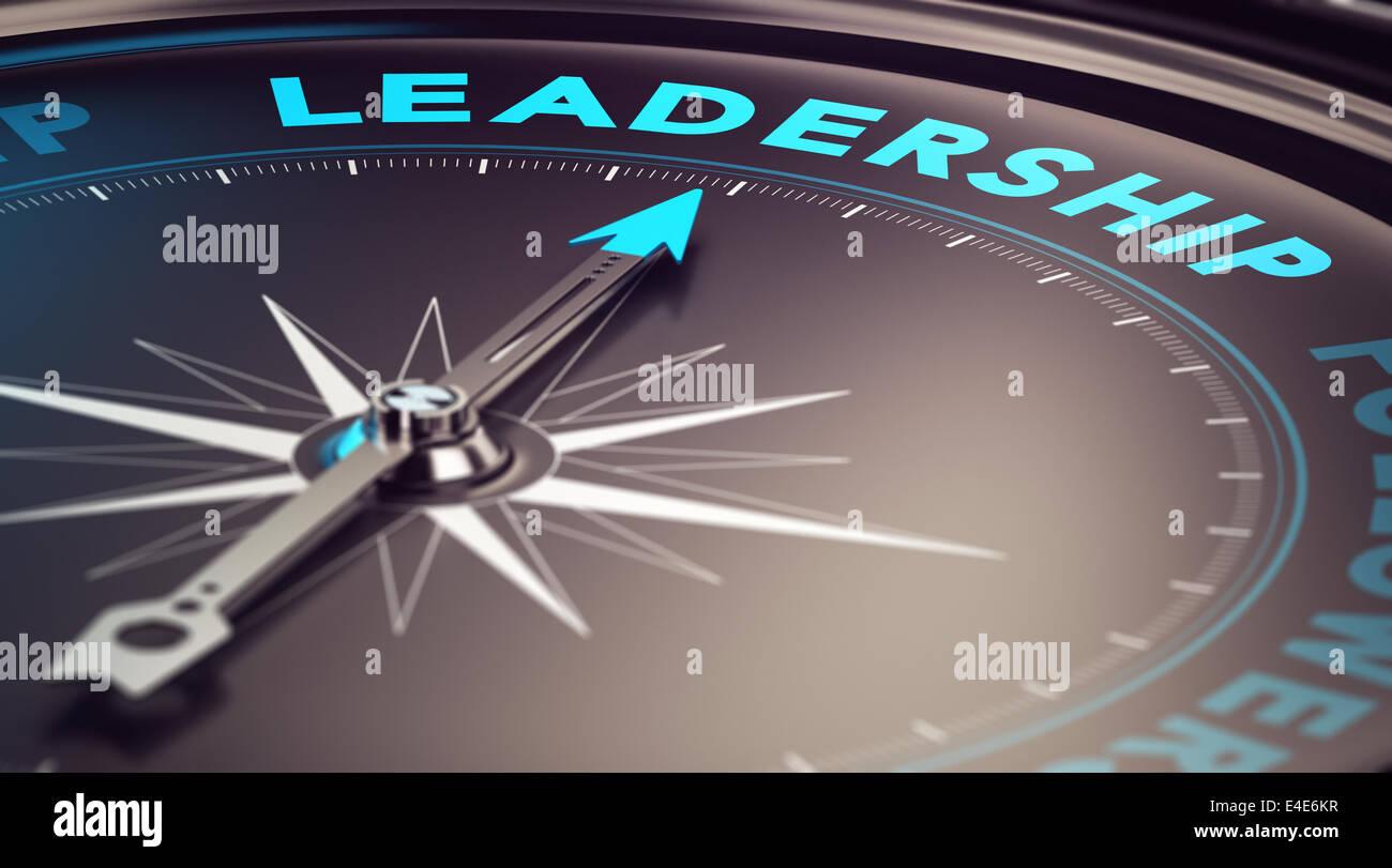Boussole, l'aiguille dirigée vers le mot leadership avec effet de flou, plus les tons bleu et noir. Pour Photo Stock