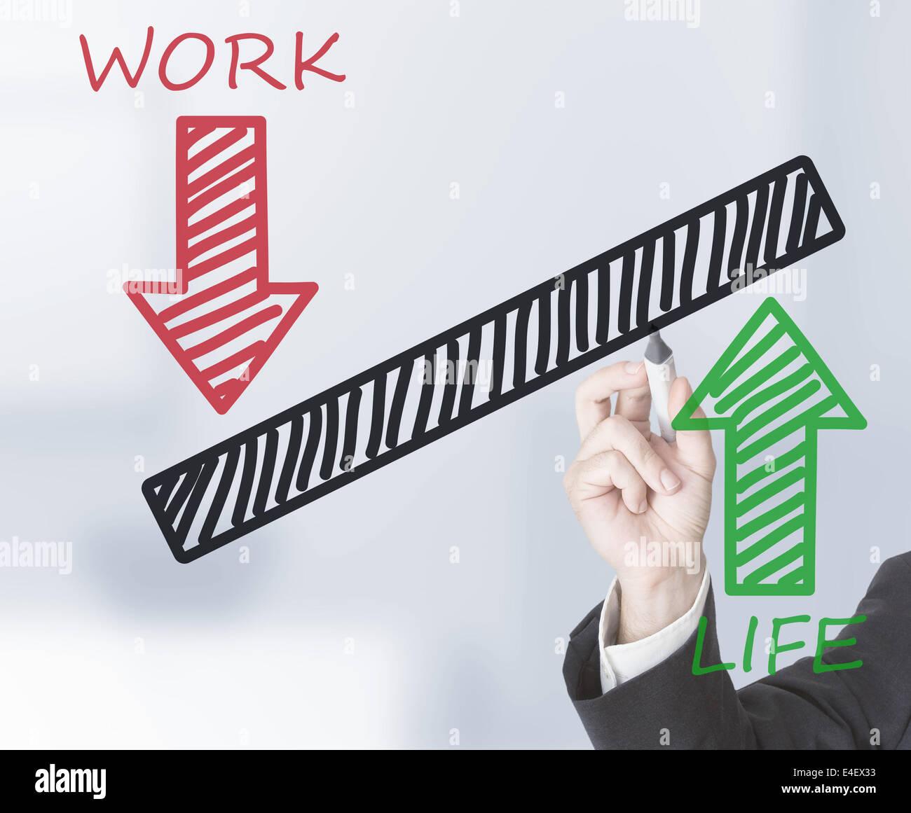 Dessin d'affaires de l'échelle d'équilibre travail/vie Photo Stock