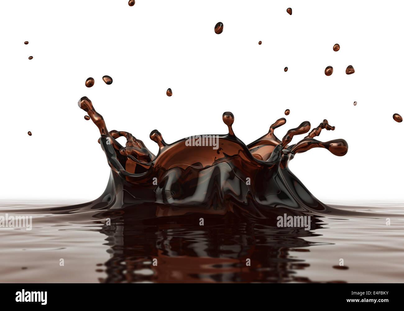 Le café liquide splash close up. Vue de côté. Sur fond blanc. Chemin de détourage inclus. Photo Stock