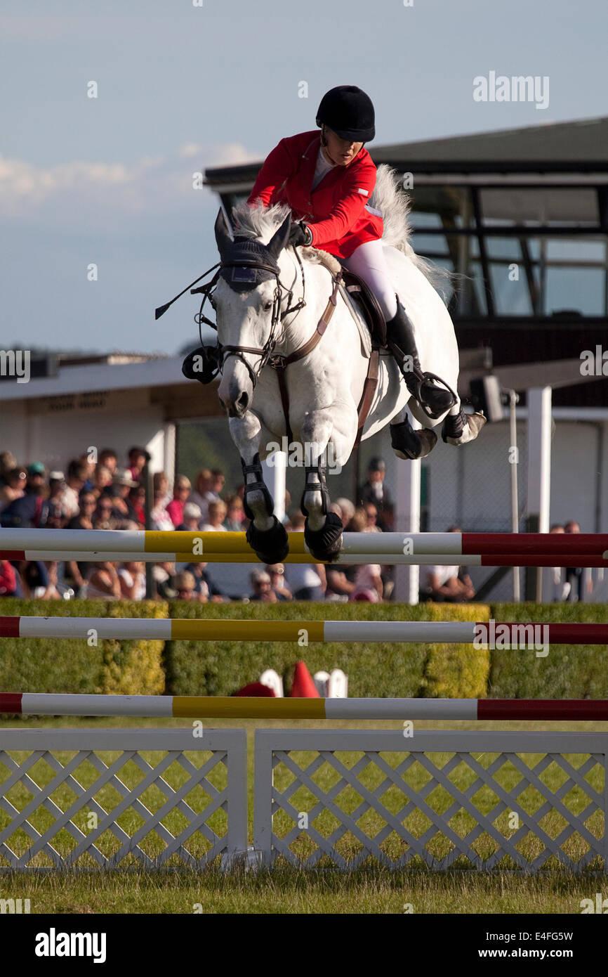 Harrogate, North Yorkshire, UK. 09 juillet 2014. Un cavalier lors de la suppression d'un grand championnat Rudding Photo Stock