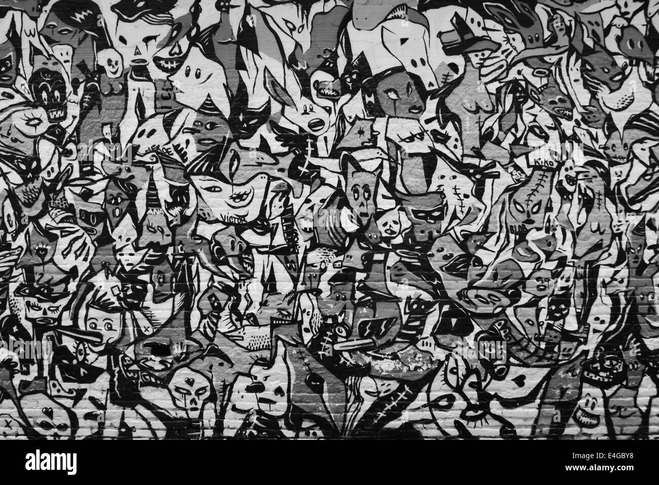 Chaos, foule, graffiti, image abstraite Photo Stock