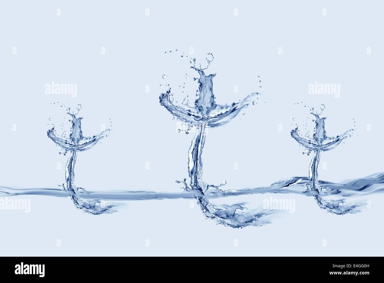 Trois croix faite de l'eau flottant sur l'eau. Photo Stock
