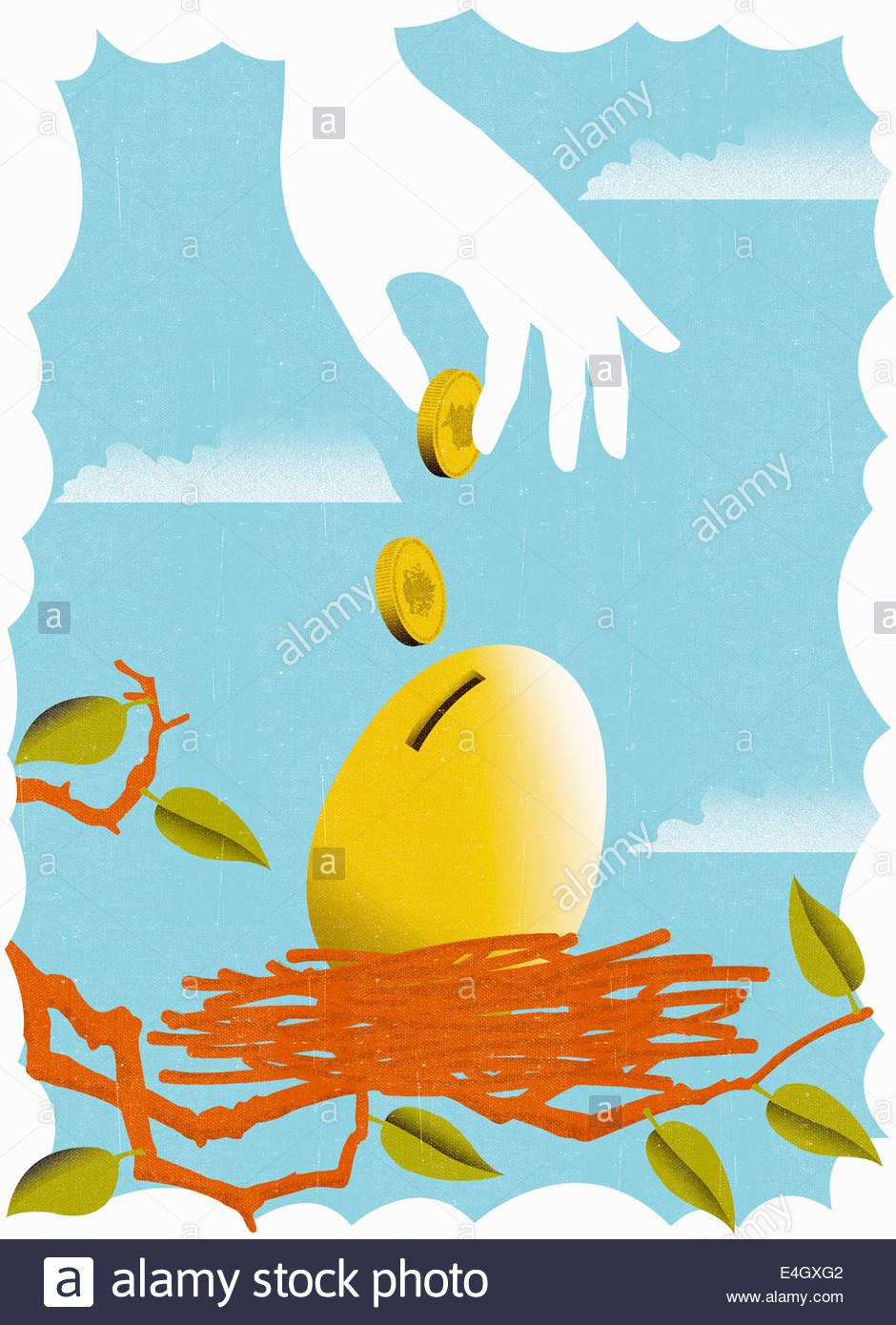 Part du dépôt de pièces de monnaie dans golden egg in nest Photo Stock