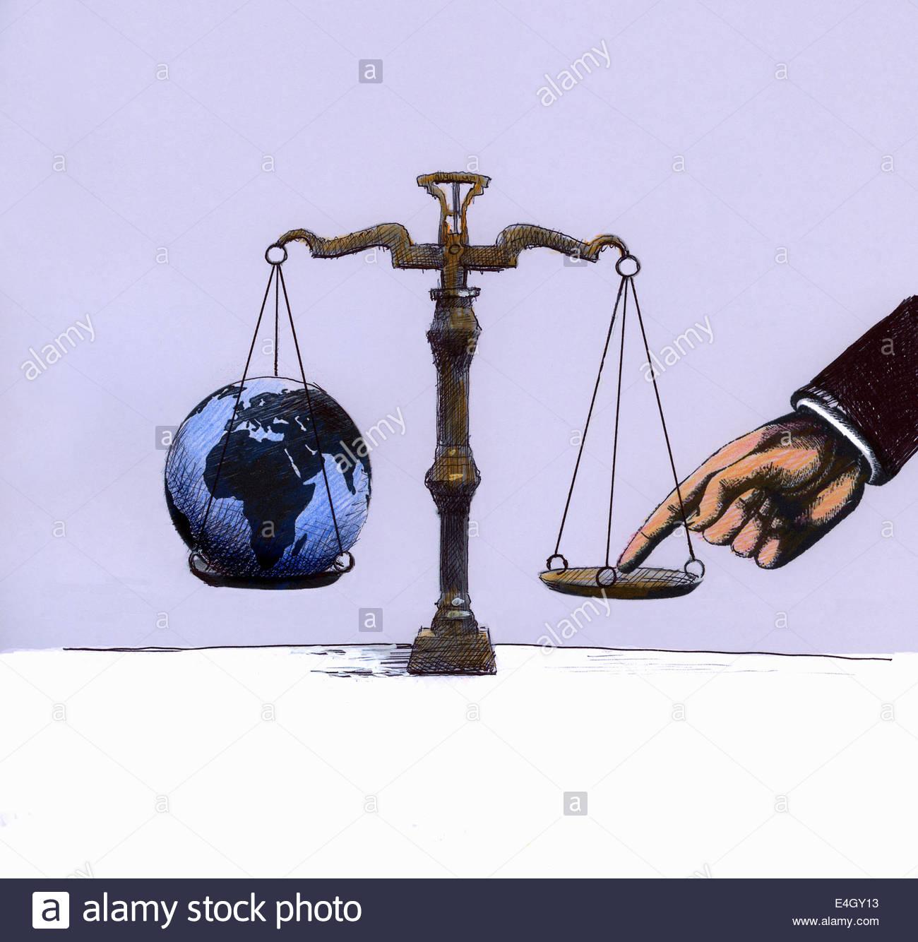 Businessman tipping opposé à l'échelle globe Photo Stock
