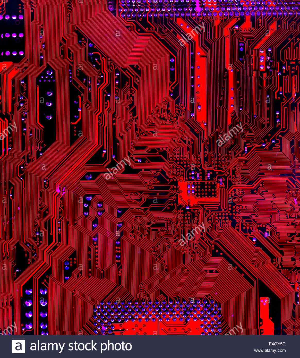 Abstract full frame red circuit board Photo Stock