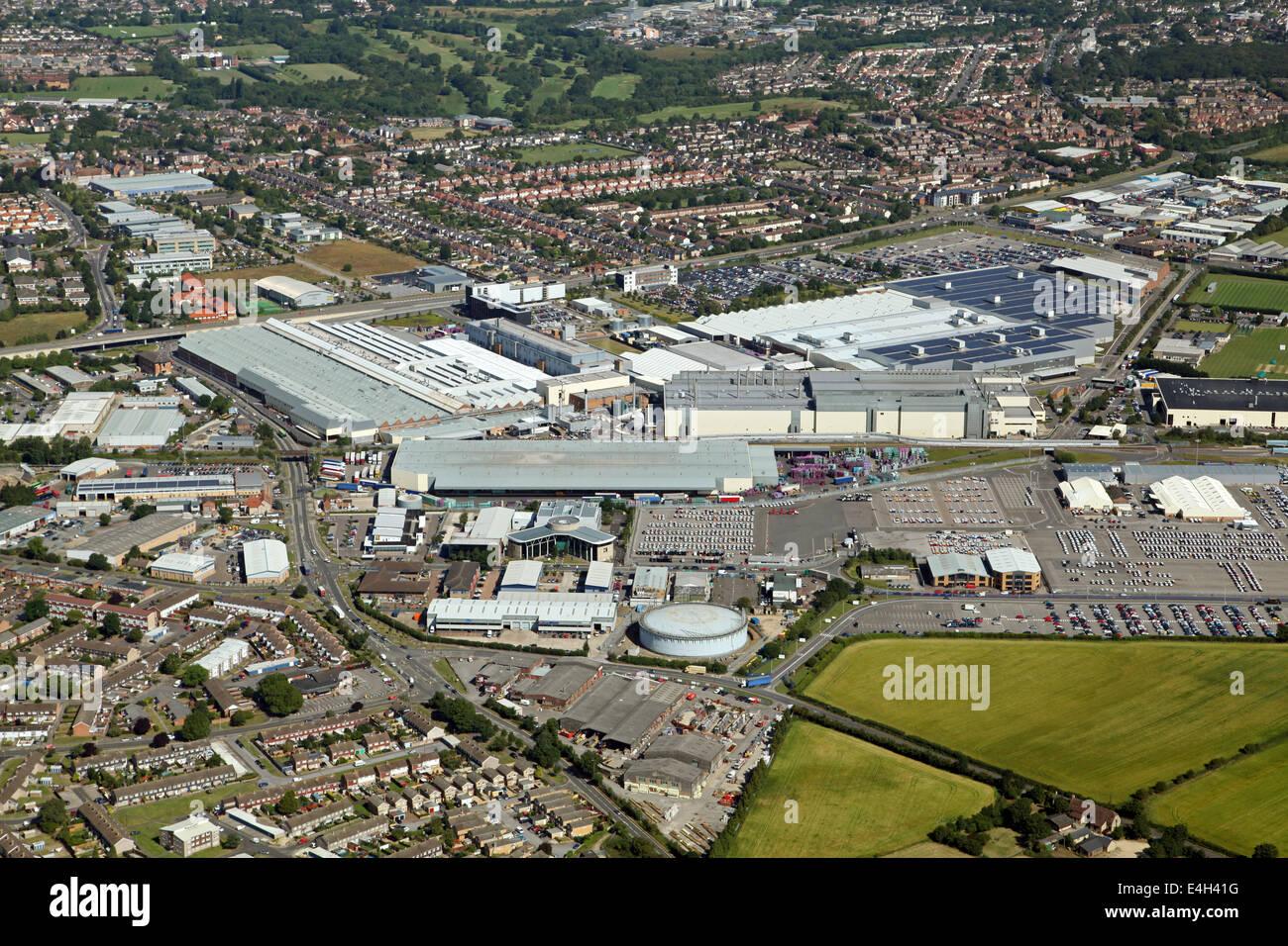 Vue aérienne de l'usine de fabrication de mini-voiture à Cowley dans Oxford, UK Photo Stock