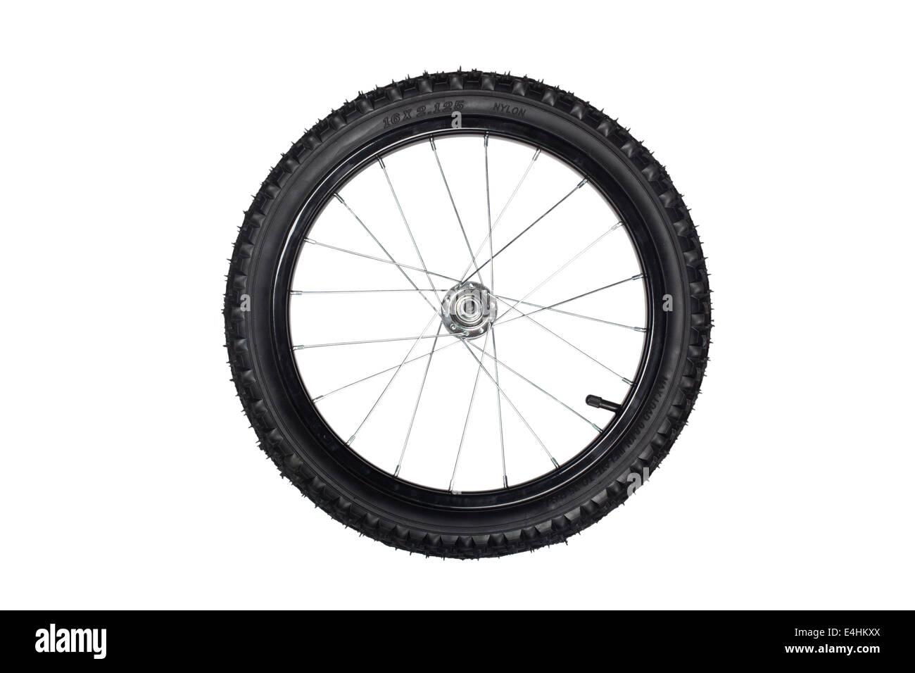 D'une roue avant de vélo enfants isolé sur fond blanc Photo Stock