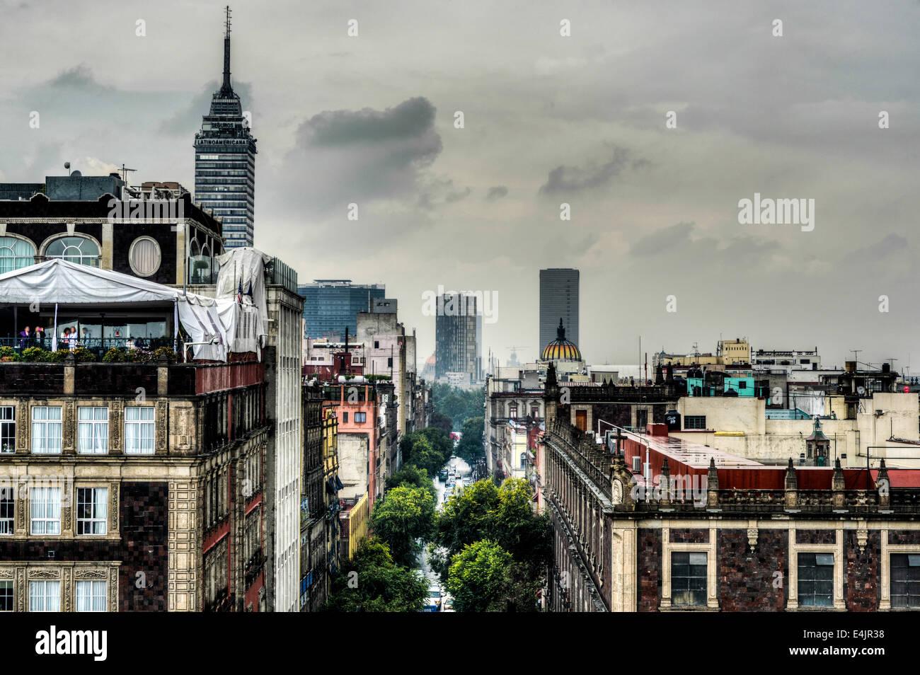 Vue aérienne de la ville de Mexico comme vu de la Cathédrale Métropolitaine. Photo Stock