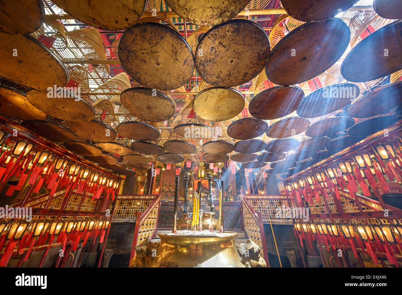 Temple Man Mo à Hong Kong, Chine. Photo Stock