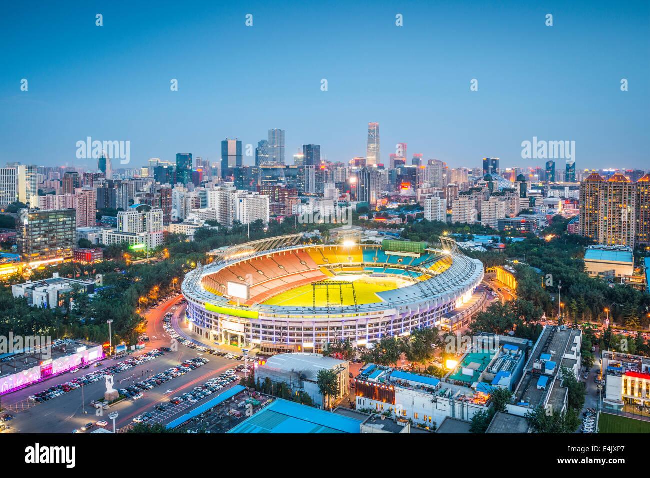 Beijing, Chine skyline et le stade. Photo Stock