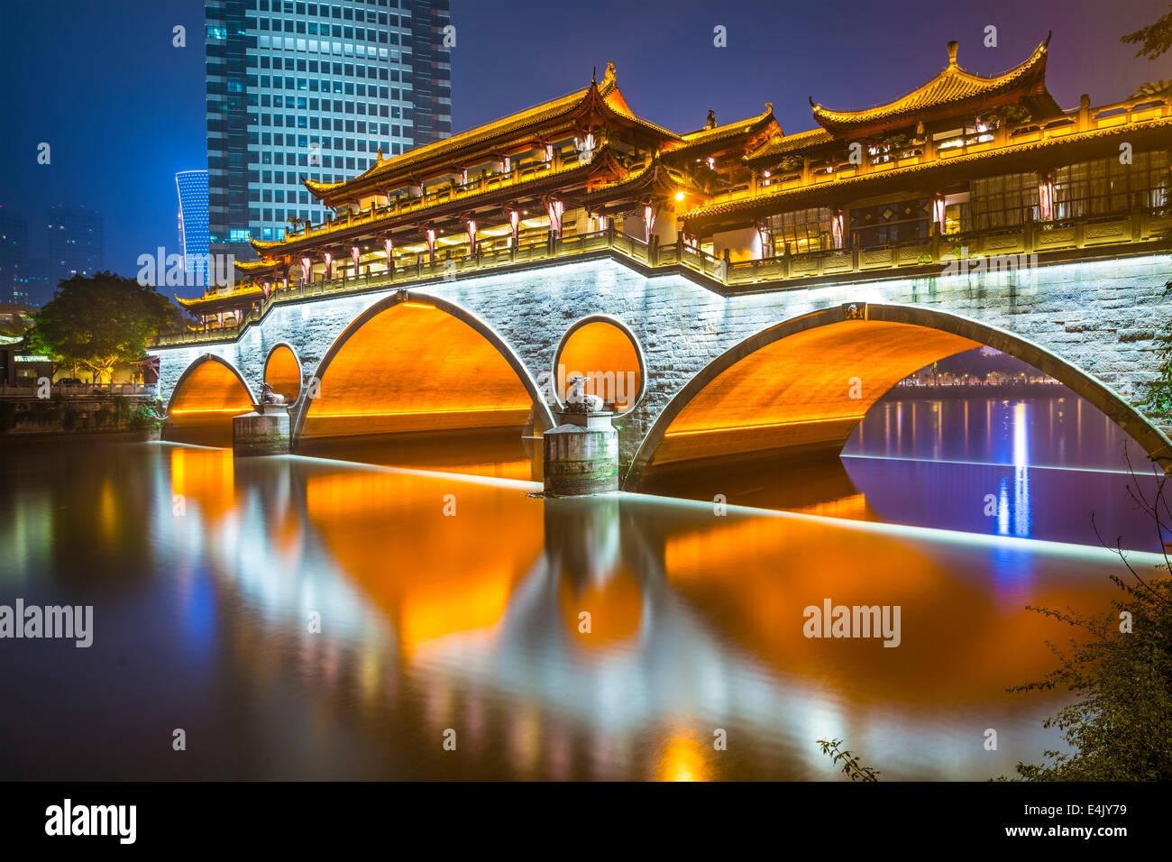 Chengdu, Sichuan, Chine à Pont Anshun. Photo Stock